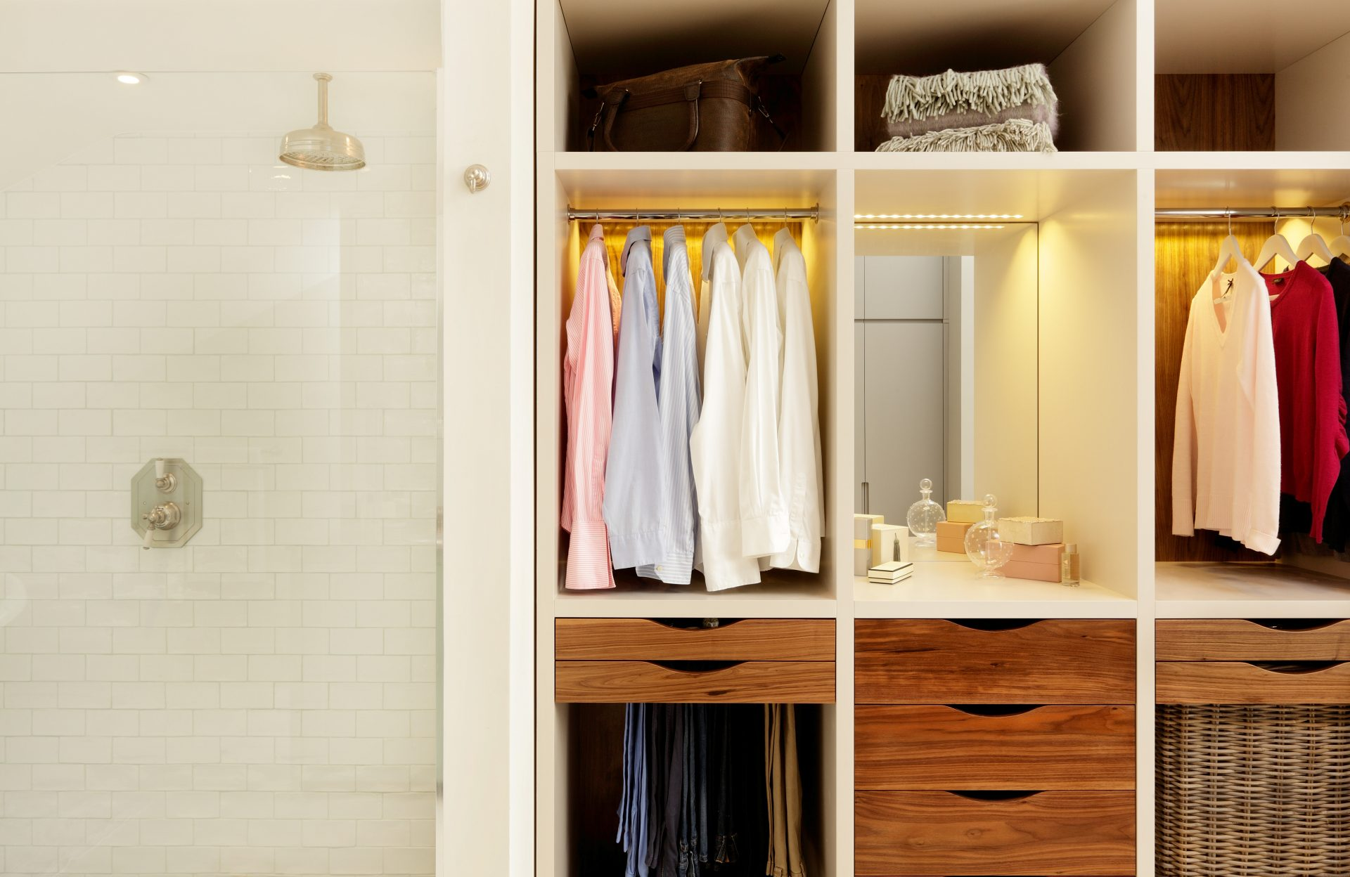open wardrobe clothes storage units