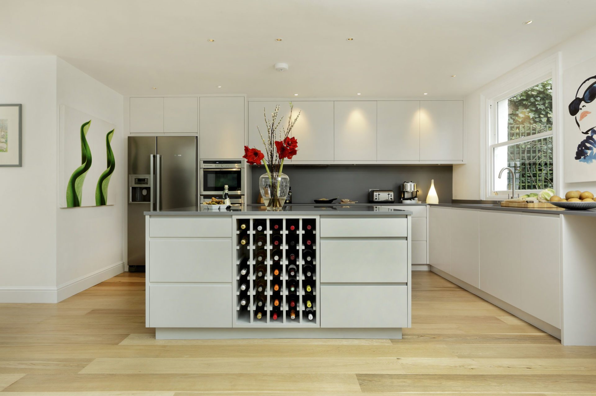 modern kitchen built in fitted wine rack