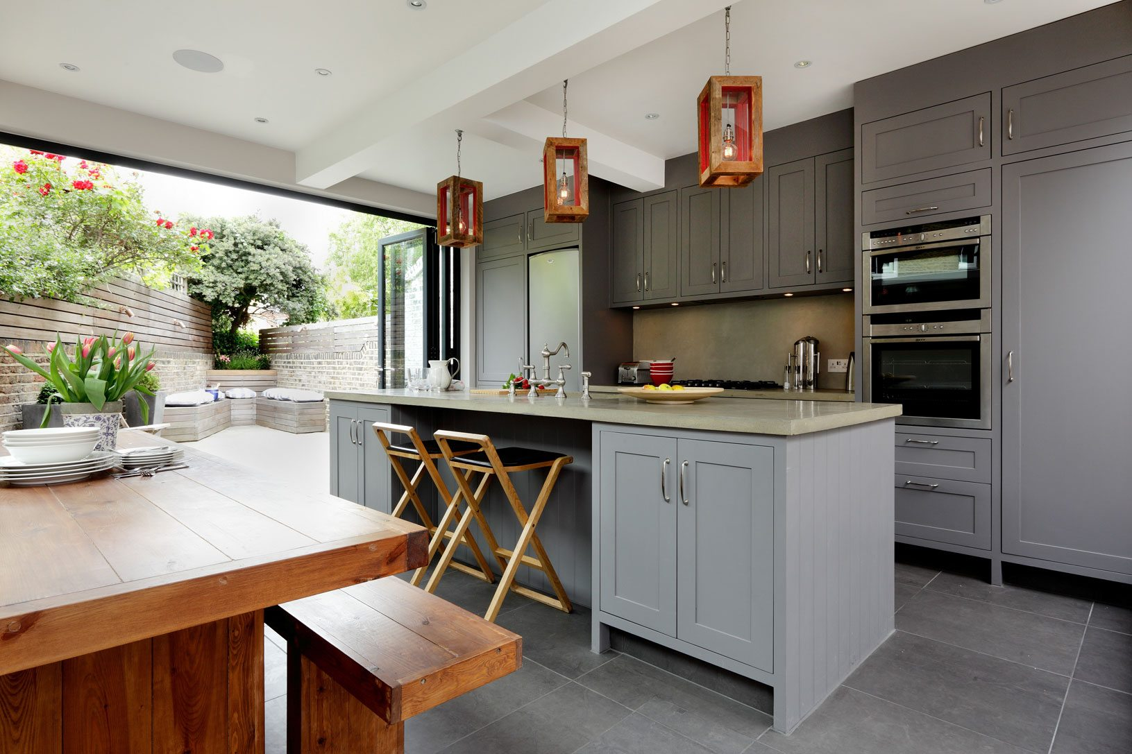modern kitchen leading to outdoor space