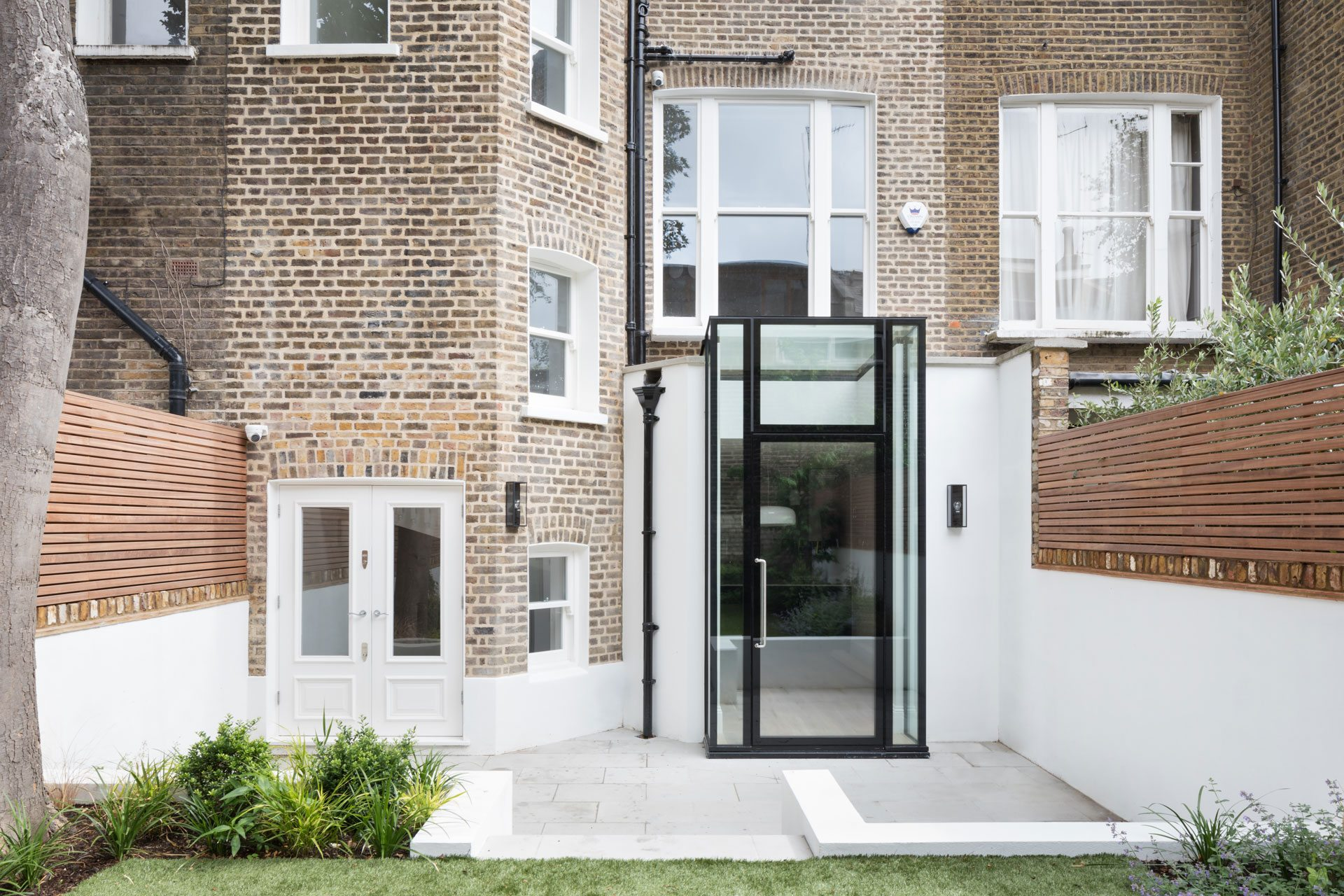 contemporary glass porch entrance