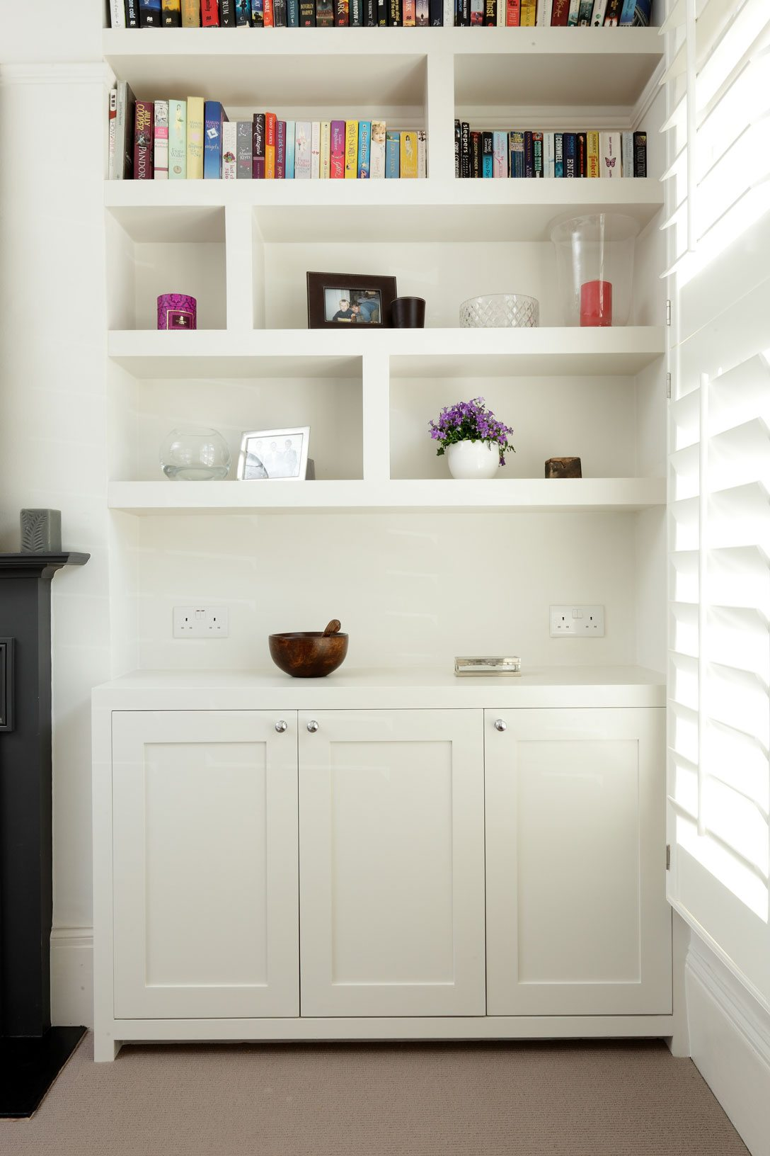 fitted bespoke shelving and cupboard