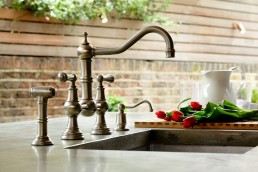 inset kitchen sink and mixer tap